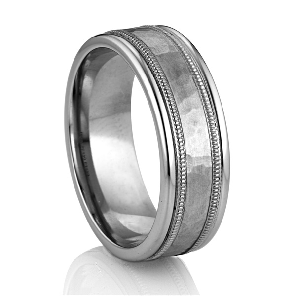 Palladium and Platinum Hammer Finished Wedding Band by DIANA Classic®