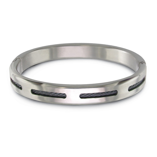 Titanium & Black Ti Cable Bangle
