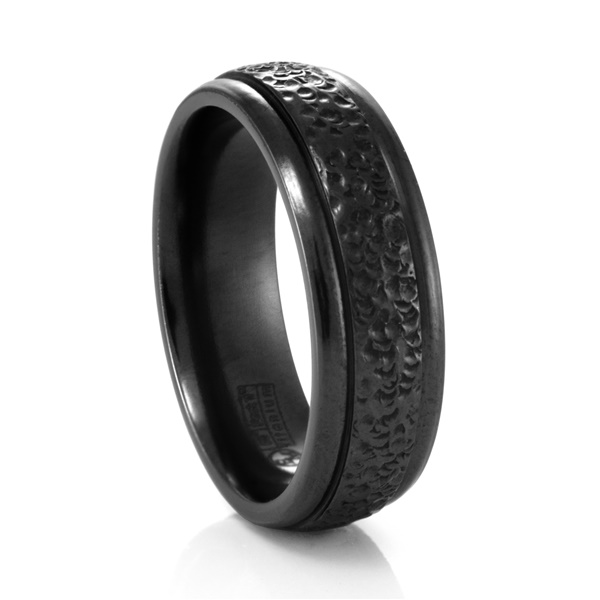 Black Hammered Titanium Ring by Edward Mirell