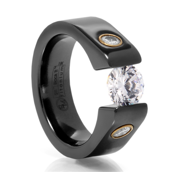 Black Titanium Tension Set Ring With Diamonds