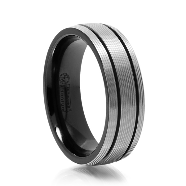 Gray Titanium Ring With Ridges