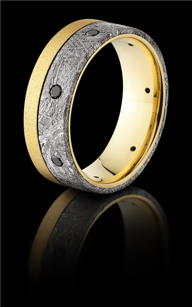 18K Meteorite & Black Diamond Ring by Lashbrook
