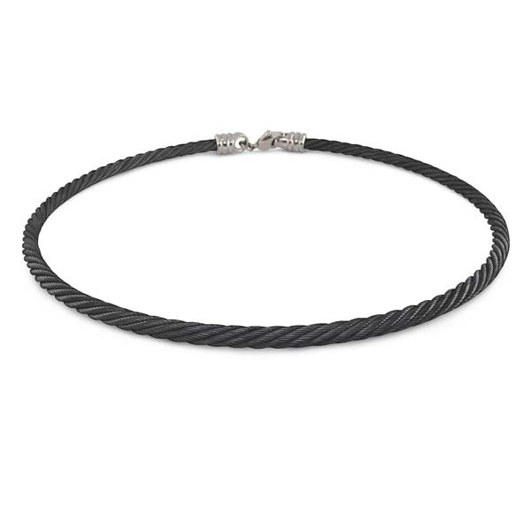 4 mm Black Titanium Cable Necklace