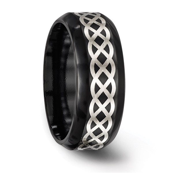 Edward Mirell Black Ti & Sterling Silver CELTIC KNOT Ring