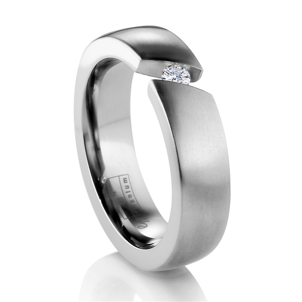 Diagonal Titanium Ring with Tension Set Diamond by Edward Mirell