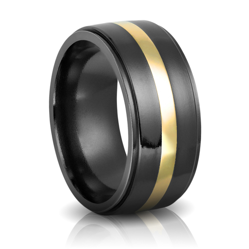 Black Zirconium & Yellow Gold 10mm Band
