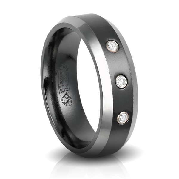 Black Titanium & Diamond Wedding Band by Edward Mirell