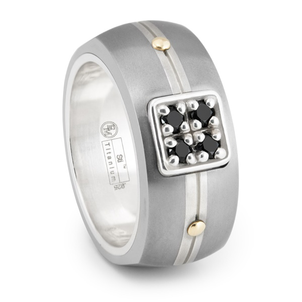 ROYALE Titanium Ring with Black Diamonds by Edward Mirell