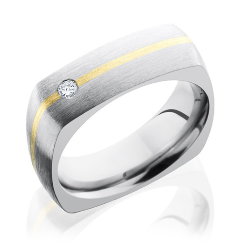 Titanium Square Ring With 14K & Diamond by Lashbrook Designs