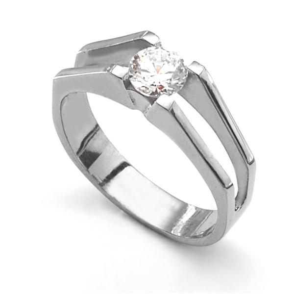STRATO Titanium Tension Set Diamondesque Ring