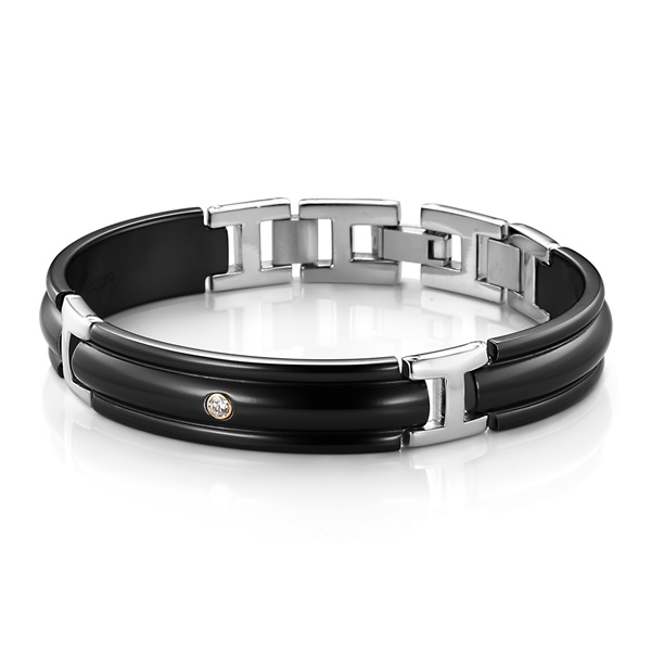 Black Titanium & Diamond Tri Dome Bracelet