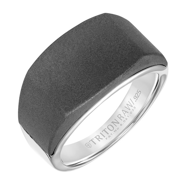Triton RAW Tungsten and Sterling Silver Signet Ring