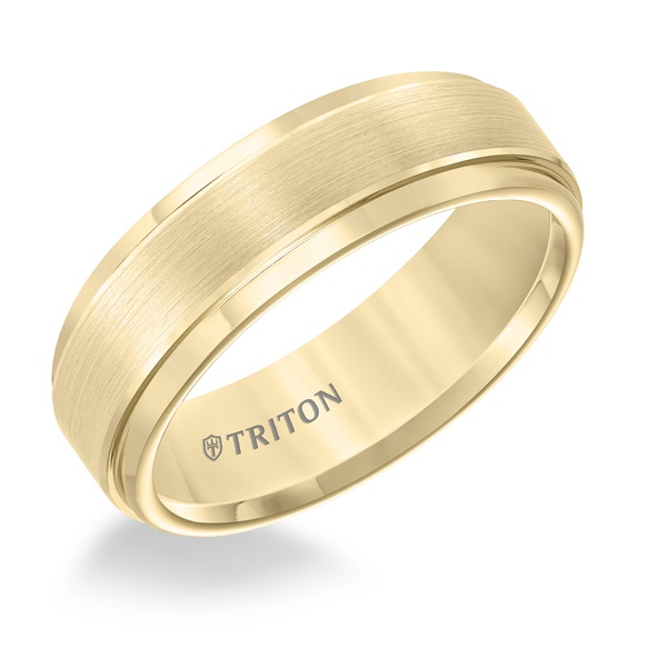 Yellow Tungsten 7mm Step Edge Ring by Triton