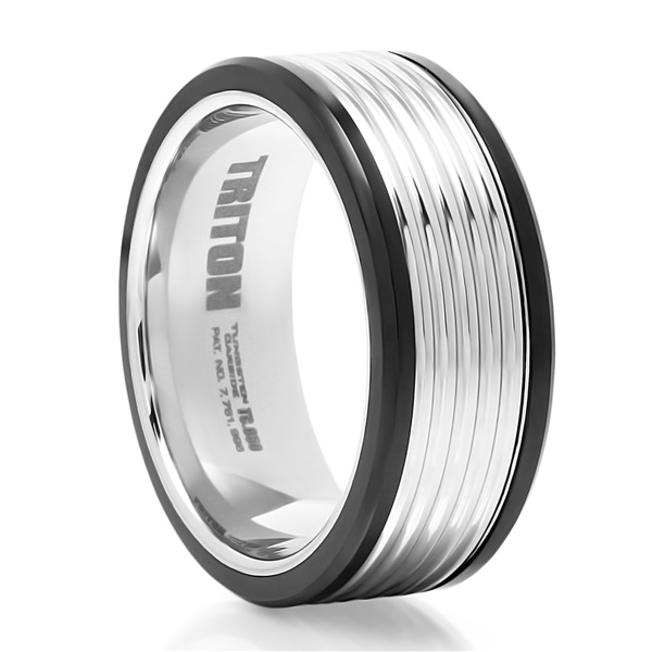 TRITON Black & White Tungsten Wedding Band Billet
