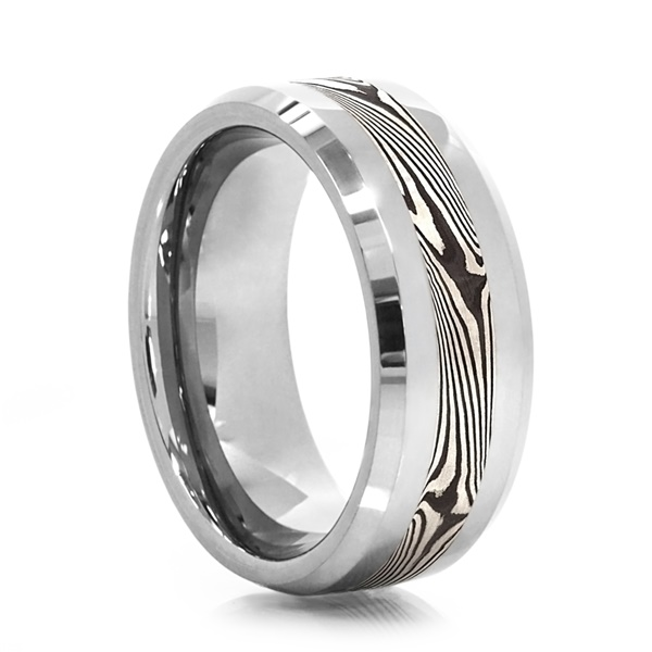 HEAVY STONE Tungsten Mokume Gane Inlay Ring