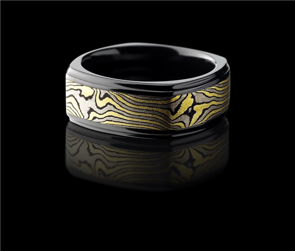 Square Black Zirconium Mokume Gane Ring