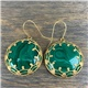14K Gold and Malachite Dangle Earrings