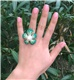 Green Swarovski & Pearl, Sterling Silver Flower Ring