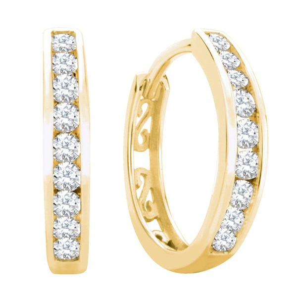 10K Yellow Gold Diamond Hoop Earrings - .15ctw