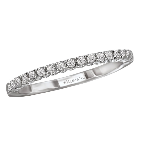 14k White Gold Diamond Wedding Band By Romance
