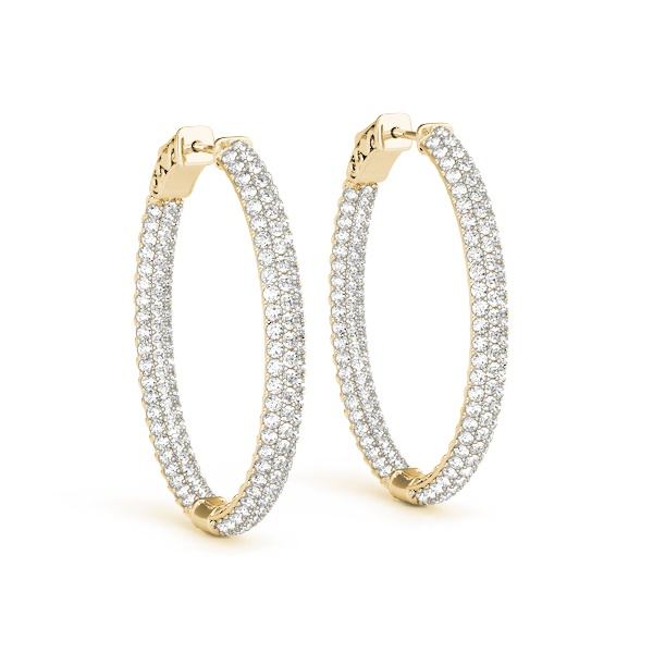 14K Yellow Gold & Diamond Pave Inside-Out Hoop Earrings