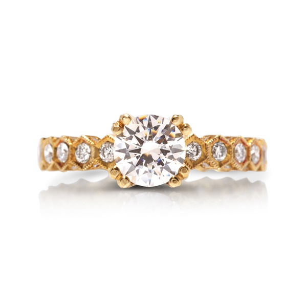 18K Yellow Gold Diamond Engagement Ring by Beverley K