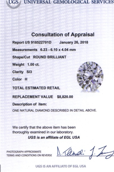 1.00ct Round Brilliant Diamond H, SI3, EGLUSA