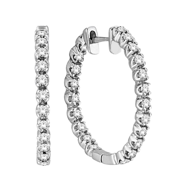 1ctw Diamond White Gold Hoops