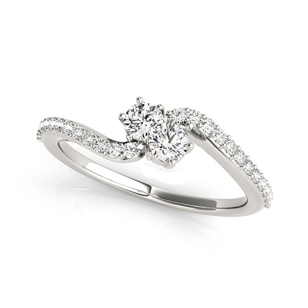 ELLIE - 14K White Gold & Two Stone Diamond Bypass Ring - 1/2 carat