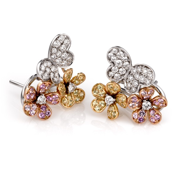 Sapphire & Diamond Butterfly Earrings