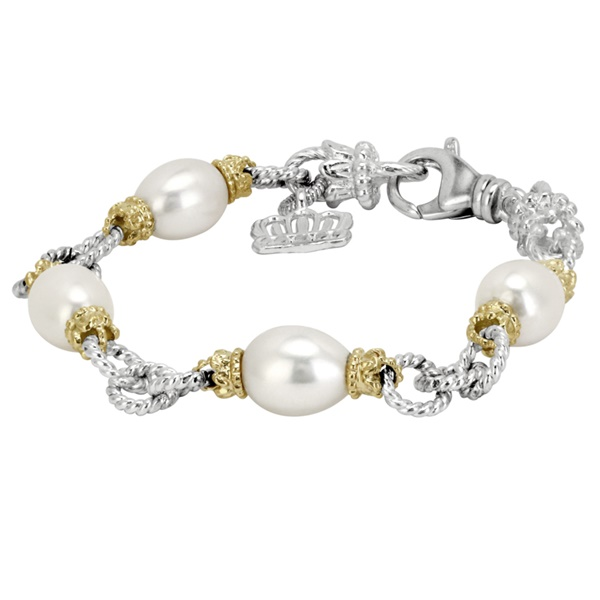 14k Yellow Gold & Sterling Silver Pearl Bracelet by Alwand Vahan