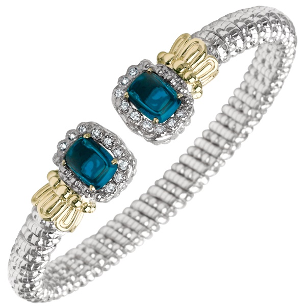 Alwand Vahan Sterling Silver, Gold, Diamond & Blue Topaz Bracelet