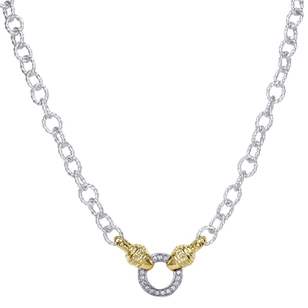 14kt Yellow Gold and Sterling Silver Diamond Necklace by Alwand Vahan
