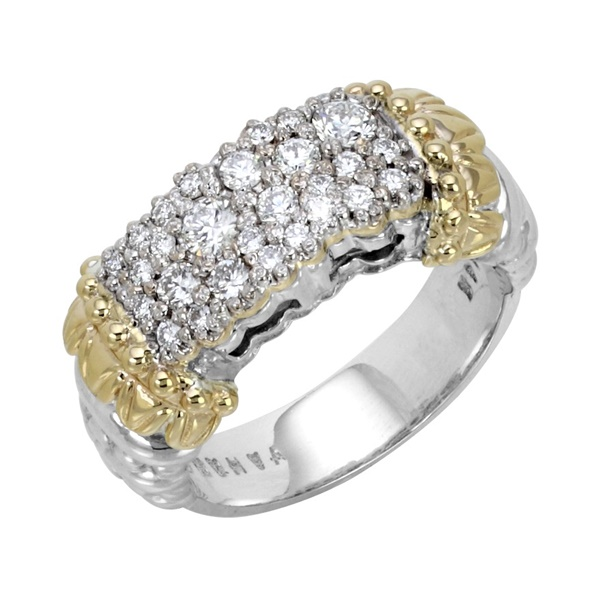 Sterling Silver, 14k Yellow Gold & Diamond Ring by Alwand Vahan