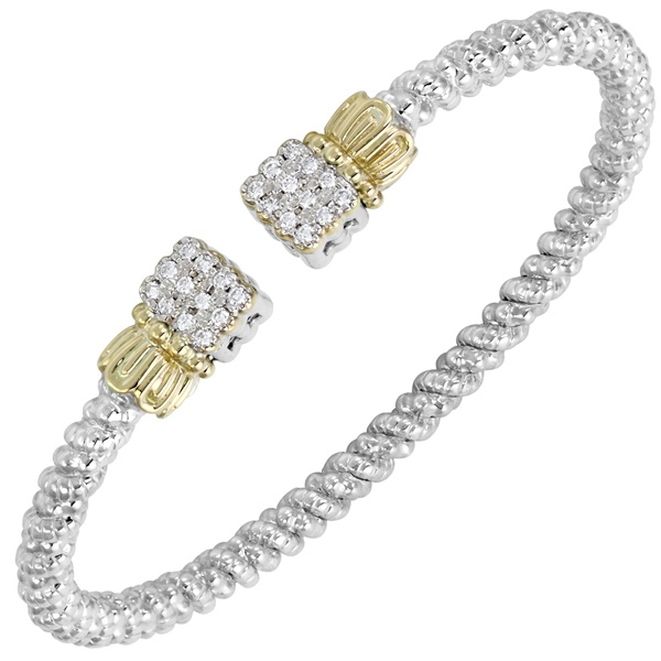 14kt Yellow Gold and Sterling Silver Diamond Square End Bangle by Alwand Vahan