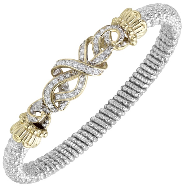 14kt Yellow Gold and Sterling Silver Diamond Ribbon Bangle by Alwand Vahan