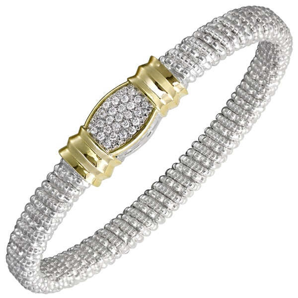 Sterling Silver, 14k Yellow Gold & Diamond Multi- Pave Bracelet by Alwand Vahan