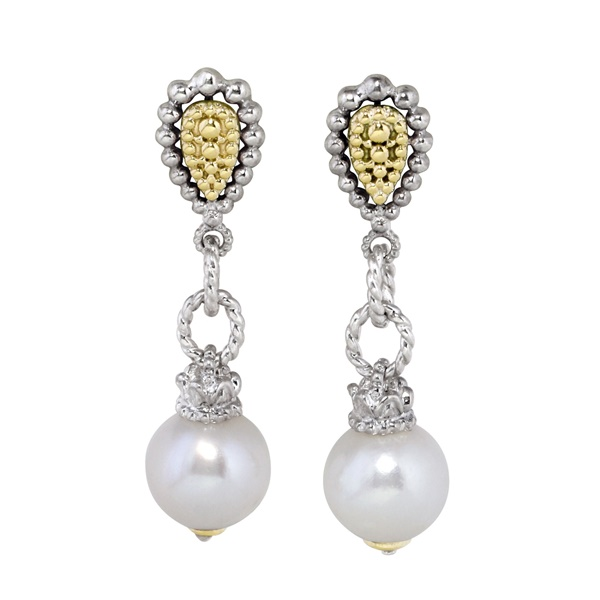 Sterling Silver & 14k Yellow Gold Pearl Earrings by Alwand Vahan