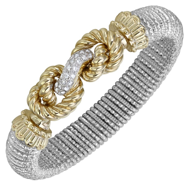 14k Yellow Gold, Sterling Silver & Diamond Bracelet by Vahan