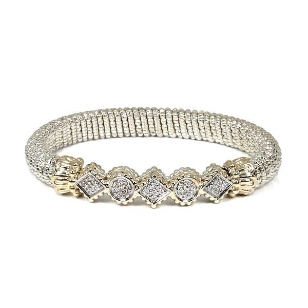 Round and Triangle Sterling Silver and 14kt Yellow Gold Bracelet by Alwand Vahan