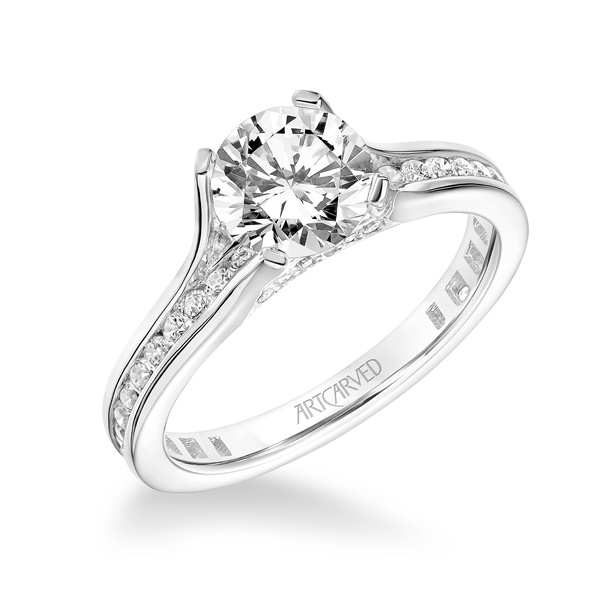 14kt White Gold Channel Set Diamond Engagement Ring by ArtCarved