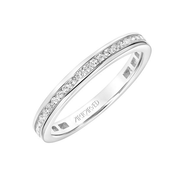 14kt White Gold and Diamond Channel Set Wedding Band by ArtCarved