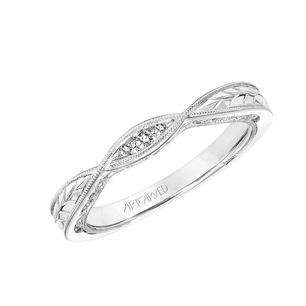 Diamond and 14kt White Gold Engraved Wedding Band by ArtCarved