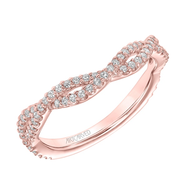 Braided Diamond and Rose Gold Wedding Band by ArtCarved