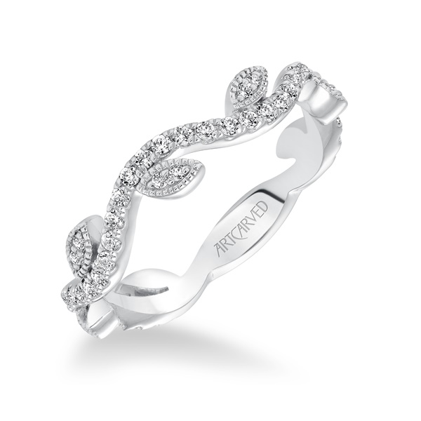 14kt White Gold and Diamond Vine Design Wedding Band by ArtCarved