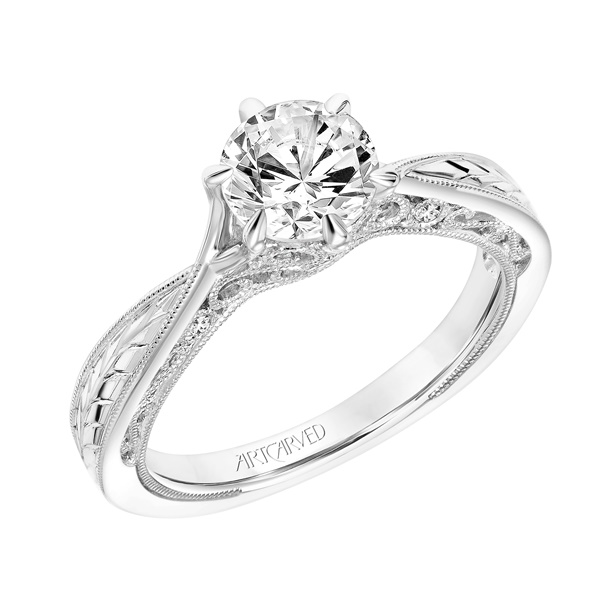 Diamond and 14kt White Gold Engraved Engagement Ring by ArtCarved