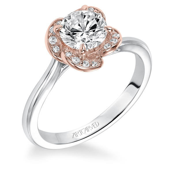 14kt White and Rose Gold Diamond engagement Ring by ArtCarved