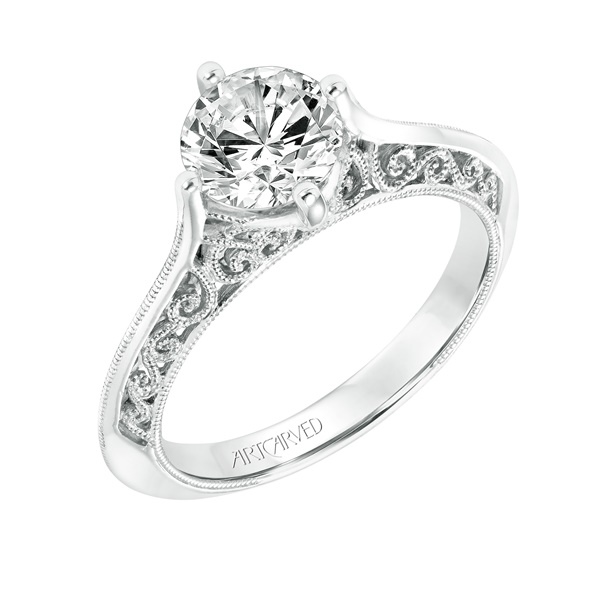 14kt White Gold with Filigree Gallery Semi-mount Engagement ring by ArtCarved