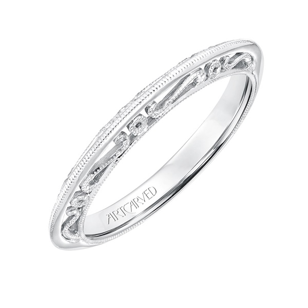 14kt White Gold with Filigree Gallery Wedding Band by ArtCarved