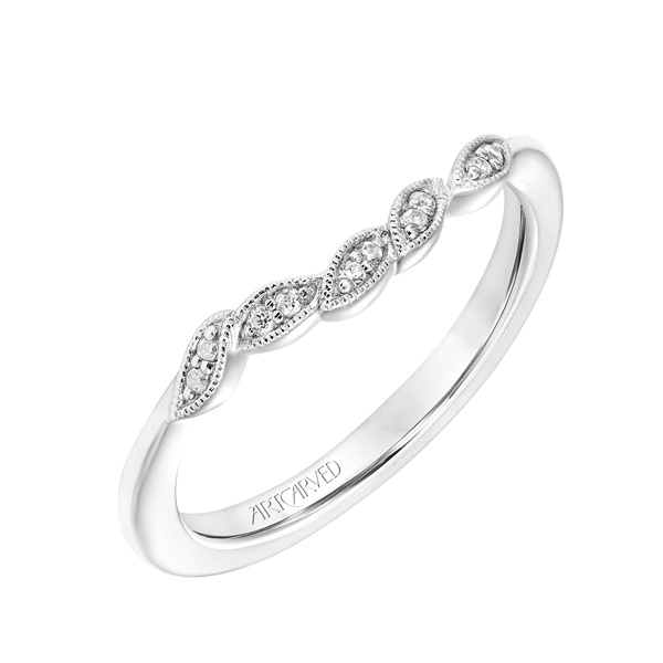 14kt White Gold and Diamond Leaf Wedding Band by ArtCarved